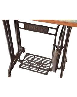 Stolík z teakového dreva a šijacieho stroja OLYMPIC, 86x38x75cm