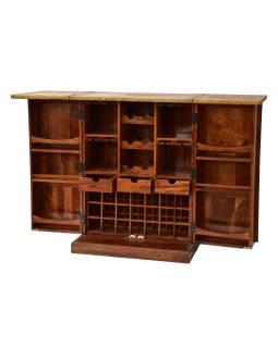 Barový pult, rozkladacia, mosadzné kovania, palisander, 84x55x110cm