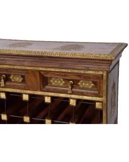 Bar z palisandrového dreva, mosadzné kovania, 70x30x110cm