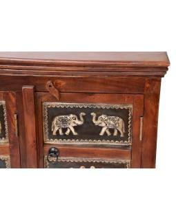 Komoda z palisandrového dreva, zdobená mosadzným kovaním, slony, 107x40x75cm