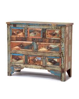 Komoda z teakového dreva, vykladanie farebnú intarzií, 92x36x80cm