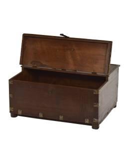 Stará truhlička - šperkovnica z teakového dreva, 41x19x31cm
