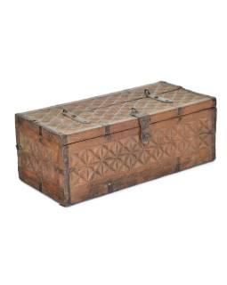 Antik truhlička z teakového dreva, ručne vyrezávaná, 28x13x11cm