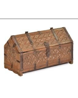 Antik truhlička z teakového dreva, ručne vyrezávaná, 28x13x16cm