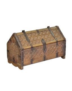 Antik truhlička z teakového dreva, ručne vyrezávaná, 28x13x13cm