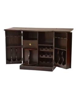 Barový pult, rozkladacia, mosadzné kovania, akácie, 70x52x90cm