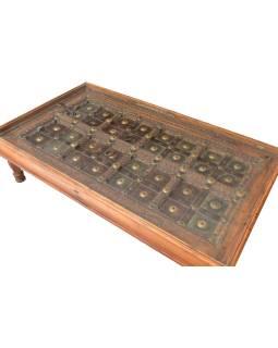 Stolík z teakového dreva zo starých dverí, sklo, 180x102x47cm