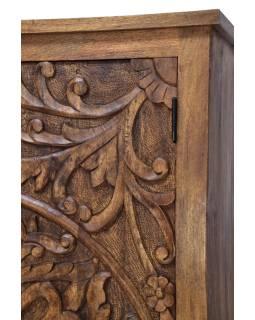 Vyrezávaná skriňa z mangového dreva, ručné práce, 100x45x180cm