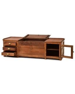 Nízka komoda z teakového dreva, 165x55x50cm
