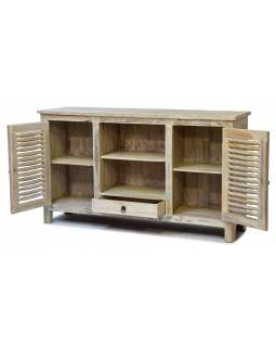 Komoda pod TV z teakového dreva, biela patina, 152x40x87cm