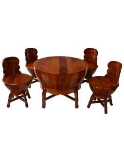 Stolček a 4 stoličky z mangového dreva