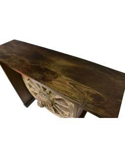 Barový pult z akáciového dreva so starým okolo od vozidla, 140x40x106cm