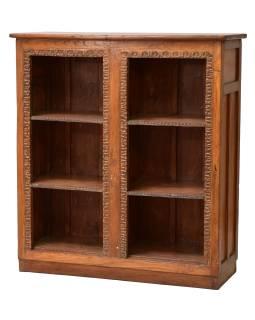 Knižnica z teakového dreva, tyrkysová patina, 111x41x122cm