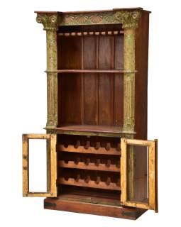 Skriňa na víno z teakového dreva, zelená patina, 107x52x197cm