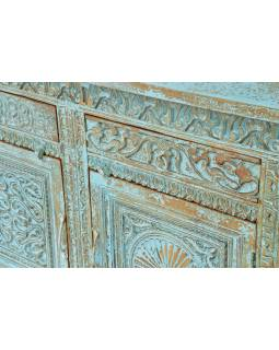 Komoda z mangového dreva, ručne vyrezávaná dvierka, 195x42x93cm
