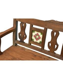 Lavice z teakového dreva zdobená keramickými dlaždicami, 158x50x93cm