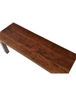 Lavice z palisandrového dreva zdobená mosadzným kovaním, 115x40x45cm