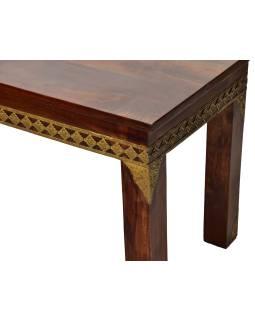 Lavice z palisandrového dreva zdobená mosadzným kovaním, 145x40x45cm