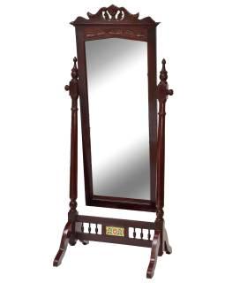 Zrkadlo v ráme z teakového dreva na stojane, 78x61x177cm
