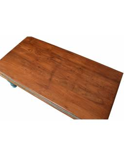 Konferenčný stolík z teakového dreva, ručné rezby, tyrkysová patina, 120x66x45cm