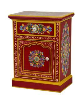 Nočný stolík vyrobený z mangového dreva, ručne maľovaný, 45x30x60cm