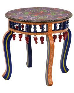 Čajový stolík z mangového dreva, ručne maľovaný, 50x50x45cm