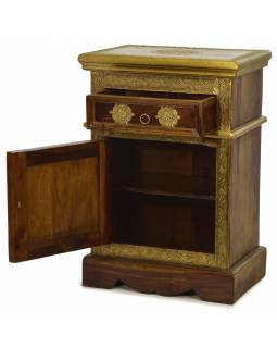 Nočný stolík z palisandrového dreva zdobený mosadzným kovaním, 45x30x65cm