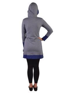 Mikinové šaty s dlhým rukávom z biobavlny, modro-biele, drobný potlač, kapucňa