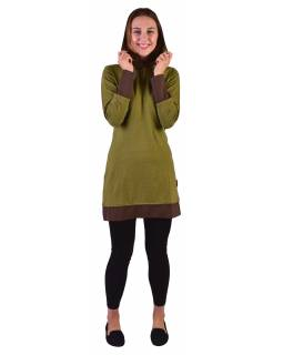 Mikinové šaty s dlhým rukávom z biobavlny, zeleno-hnedé, drobný potlač, kapucňa