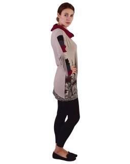Dlhšie béžovo-vínovej tričko s dlhým rukávom, biobavlna, potlač kvetín, golier