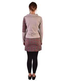 Dlhšie béžovo-šedý top, dlhý rukáv, biobavlna, potlač ružových kvetov, golier