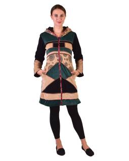 Čierno-béžovo-zelený zamatový kabátik s kapucňou, patchwork a Chakra tlač