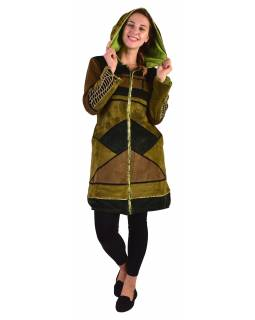Khaki-zelený zamatový kabátik s kapucňou, patchwork a Chakra tisk-