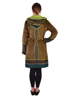 Khaki-zeleno-smaragdový zamatový kabátik s kapucňou, patchwork a Chakra tlač