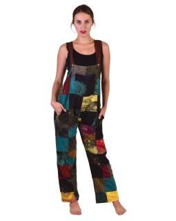 Nohavice s trakmi, vrecká, multifarebný patchwork, stonewash