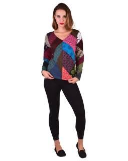 Multifarebné patchworkovej tričko s 3/4 rukávom
