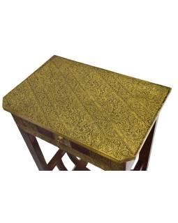 Nočný stolík z palisandrového dreva, mosadzné kovania, 45x30x75cm