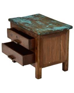 Nočný stolík so zásuvkami z teakového dreva, 45x29x36cm