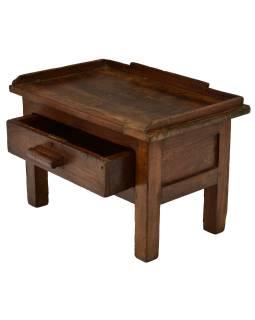Starý Kupecký stolík z teakového dreva, 57x38x38cm