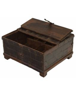 Stará truhlička - šperkovnica z teakového dreva, 30x26x15cm