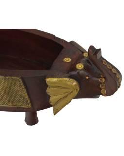Drevená misa, dve slonie hlavy, mosadzné kovania, 50x18x14cm