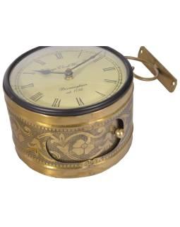 Obojstranné závesné hodiny, zlatá, kvetinový motív, 16cm