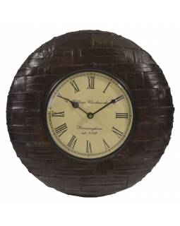 Hodiny na stenu, ručne vyrezávané z mangového dreva, 31cm