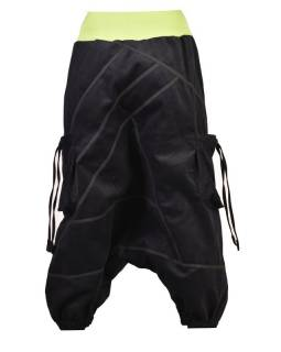 Dlhé manšestrové turecké nohavice, čierno-zelené, Chakra tlač a výšivka, vrecká