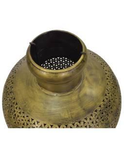 Svetelná váza, kovová, ručne tepaná, mosadzná patina, 37x37x57cm