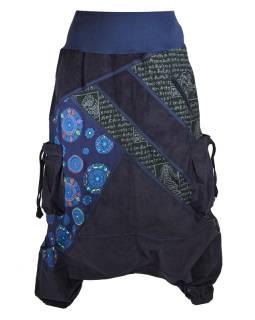 Dlhé manšestrové turecké nohavice, tmavo modré, Chakra tlač a výšivka, vrecká