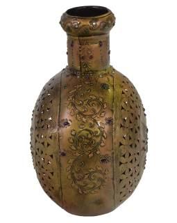 Kovová váza, ručne tepaná, mosadzná patina, 33x16x33cm