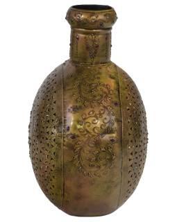 Kovová váza, ručne tepaná, mosadzná patina, 41x18x44cm