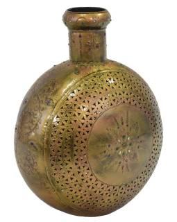 Kovová váza, ručne tepaná, mosadzná patina, 42x24x48cm