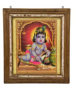 Starý obraz hinduistického božstva v teakovom ráme pod sklom, Krišna, 53x3x60cm